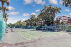 part of the beautful amelia condo landscaping includes a tennis court